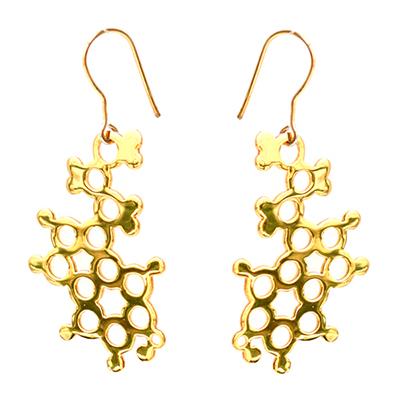 serotonin earrings gold